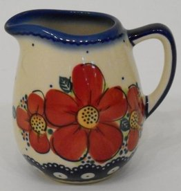 Polish Pottery Creamer, 9cm, Red Flowers & Dots