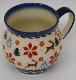Polish Pottery Mug, Potbelly, 330mL, Holly & Reindeer