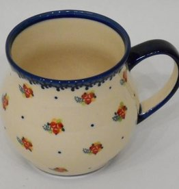 Polish Pottery Mug, Potbelly, 330mL, Red Berries