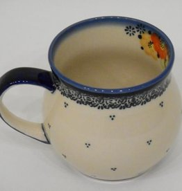 Polish Pottery Mug, Potbelly, 330mL, Blue Dot Clusters