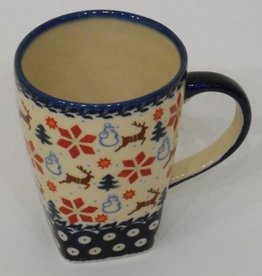Polish Pottery Mug, Tall, 600mL, Holly & Reindeer