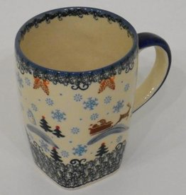 Polish Pottery Mug, Tall, 600mL, Snowflakes & Reindeer