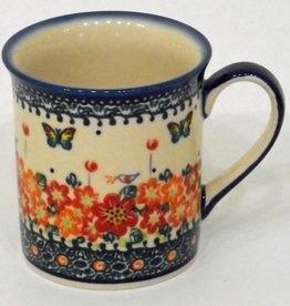 Polish Pottery Mug, Small, 250mL, Red Flowers & Butterfiles