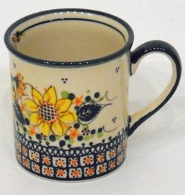 Polish Pottery Mug, Small, 250mL, Sunflower