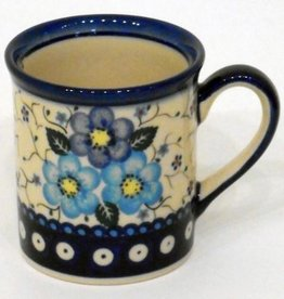 Polish Pottery Mug, Small, 250mL, Blue Flowers & Vines