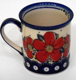 Polish Pottery Mug, Small, 250mL, Red Flowers & Dots