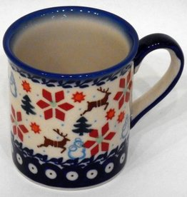 Polish Pottery Mug, Small, 250mL, Holly & Reindeer