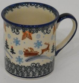 Polish Pottery Mug, Small, 250mL, Snowflakes & Reindeer