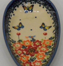 Polish Pottery Spoon Rest, 13x8cm Red Flowers & Butterflies