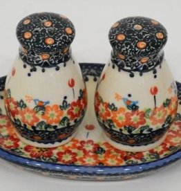 Polish Pottery Salt & Pepper Shakers, Round, Red Flowers & Butterflies