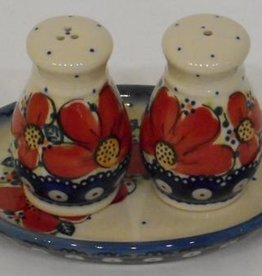 Polish Pottery Salt & Pepper Shakers, Round, Red Flowers & Dots