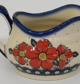 Polish Pottery Gravy Boat, 500mL, Red Flowers & Dots