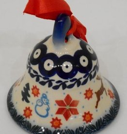 Polish Pottery Christmas Ornament, Bell, 8cm, Holly & Reindeer