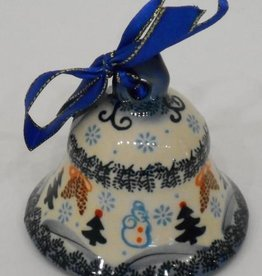 Polish Pottery Christmas Ornament, Bell, 8cm, Snowflakes & Reindeer