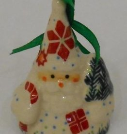 Polish Pottery Christmas Santa Ornament, 7cm, Holly & Reindeer