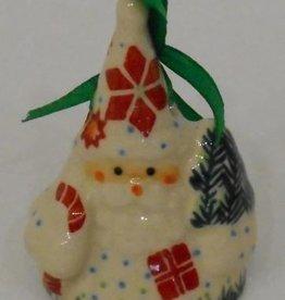 Polish Pottery Christmas Santa Ornament, 7cm, Holly & Reindeer