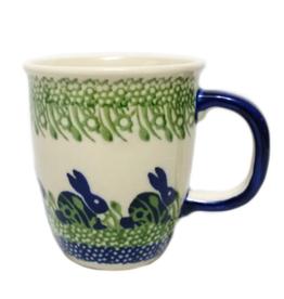 Polish Pottery 10oz Bistro Mug, Spring Bunny