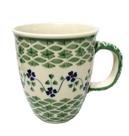 Polish Pottery 10oz Bistro Mug, Green Meadow