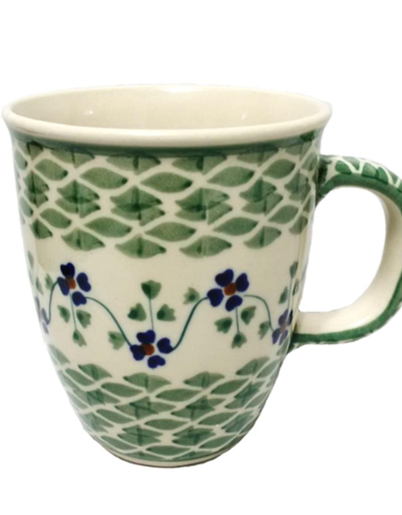 Polish Pottery 10oz Bistro Mug, Green Meadow