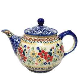Polish Pottery 0.75L Morning Teapot, Summer Garden, Signed