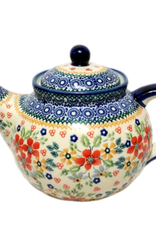 Polish Pottery 1.25L Afternoon Teapot, Summer Garden, Signed