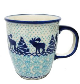 Polish Pottery 10oz Bistro Mug, Reindeer