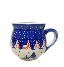 Polish Pottery 7oz Ladies Mug, Winter Village