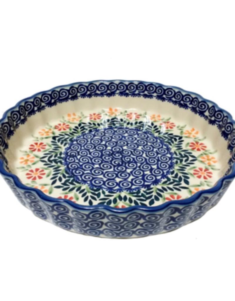 """Polish Pottery Tart Baker 9.75"""", Spring Morning"""