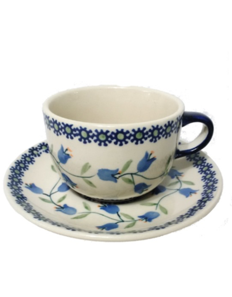 Polish Pottery Tea Cup & Saucer, Trailing Lily
