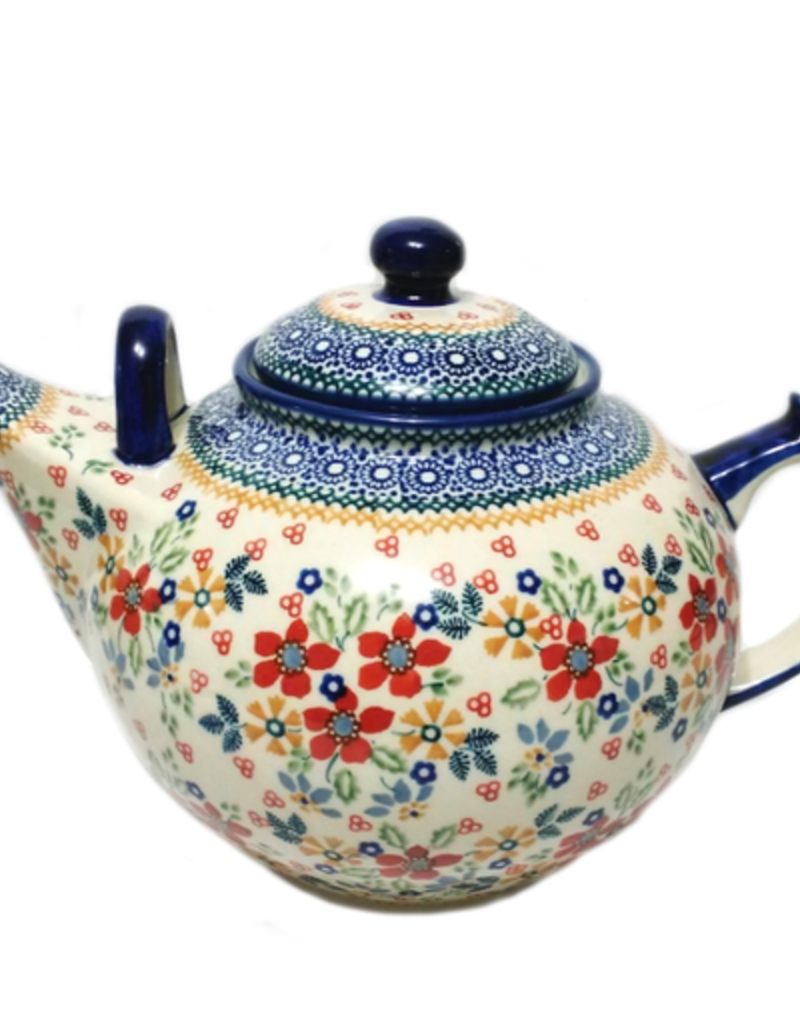 Polish Pottery 2.75L Family Teapot, Summer Garden, Signed