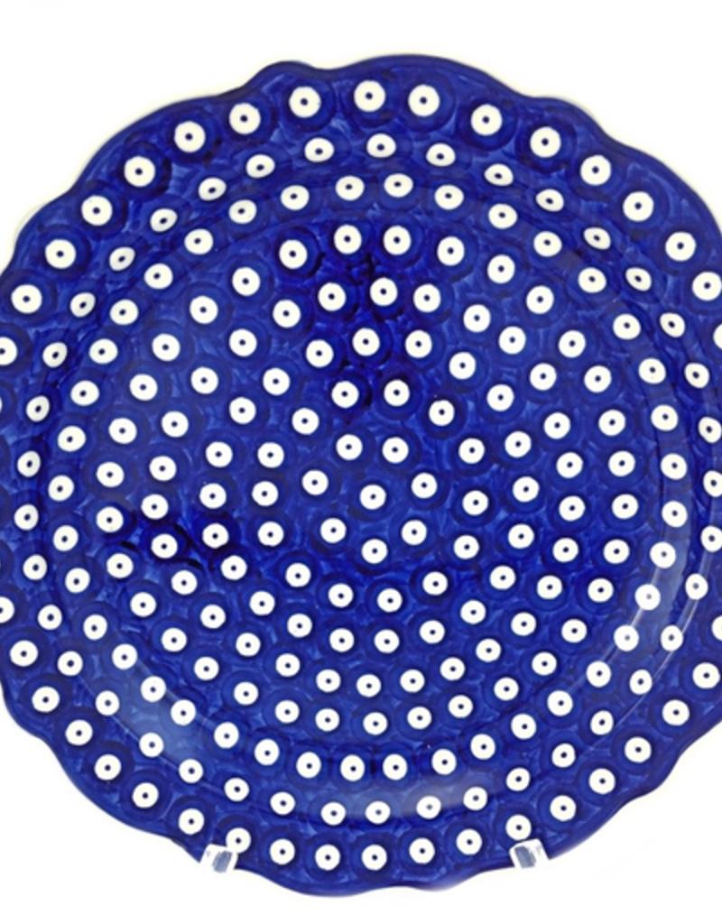 "Polish Pottery 13.5"" Round Fluted Platter, Polka Dot"
