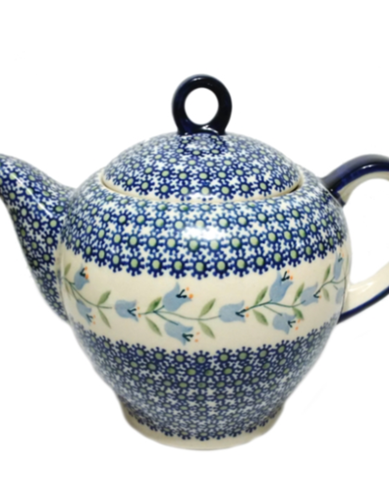 Polish Pottery 1.5L Tall Teapot, Trailing Lily