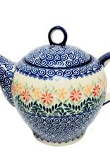 Polish Pottery 1.5L Tall Teapot, Spring Morning