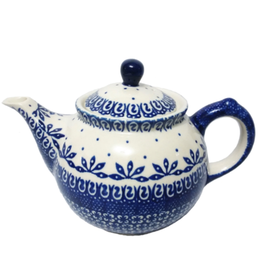 Polish Pottery 0.75L Morning Teapot, Blue on White