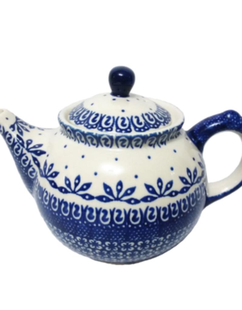 Polish Pottery 0.75L Morning Teapot, Blue on White