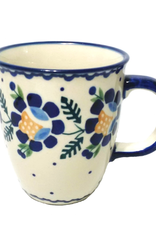 Polish Pottery 10oz Bistro Mug, Blue Daisy