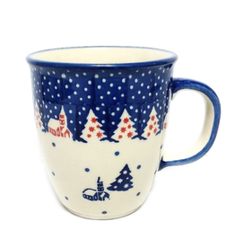 Polish Pottery 10oz Bistro Mug, Winter Village