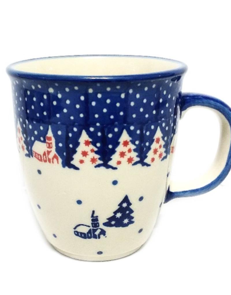 Polish Pottery 10oz Bistro Mug, Winter Village