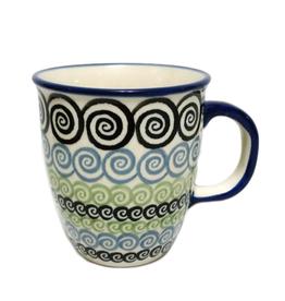 Polish Pottery 10oz Bistro Mug, Black Swirl