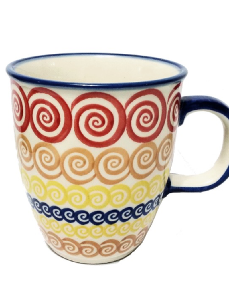 Polish Pottery 10oz Bistro Mug, Red Swirl