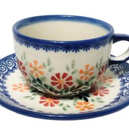 Polish Pottery Tea Cup & Saucer, Spring Morning