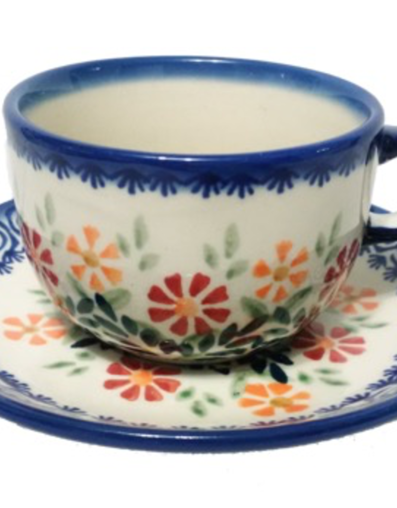 Polish Pottery Tea Cup & Saucer, Spring Morning