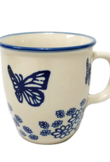 Polish Pottery 10oz Bistro Mug, Blue Butterfly