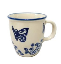 Polish Pottery 10oz Bistro Mug, Blue Butterfly
