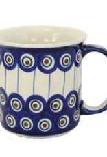 Polish Pottery 13oz Canadian Mug, Peacock