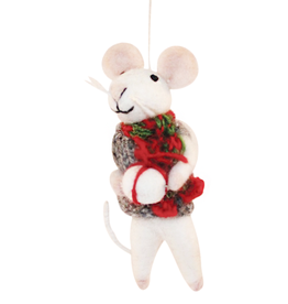 Hamro Ornament, Mouse w/Christmas Scarf