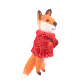 Hamro Ornament, Red Sweater Fox