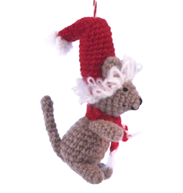 Hamro Ornament, Knit Mouse w/Red Hat