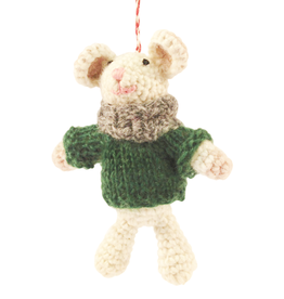 Hamro Ornament, Mouse w/Knit Grey Scarf