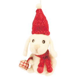 Hamro Ornament, Puppy w/Red Hat